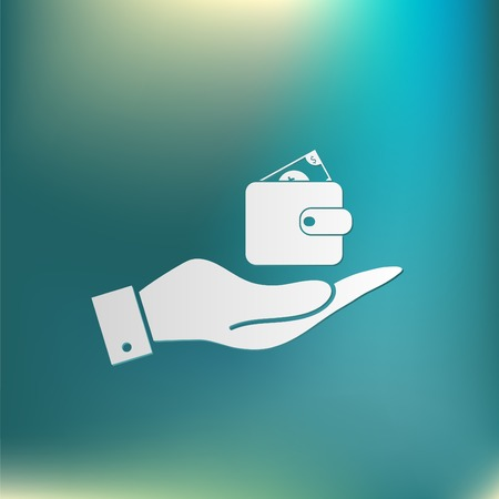 billfold: hand holding a purse sign. symbol icon purse and dollar. money in your wallet