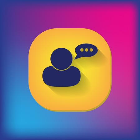 round collar: character avatar dialogue sign. man speak icon