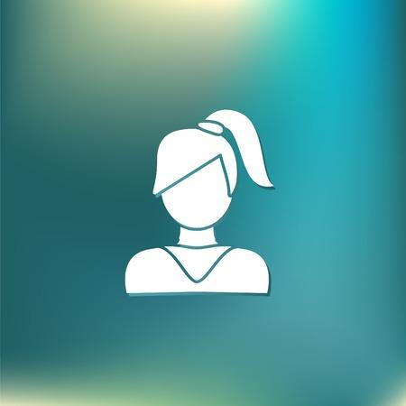 cola mujer: Un avatar femenino. chica con el pelo de la cola. Avatar de una mujer con el pelo largo y flequillo
