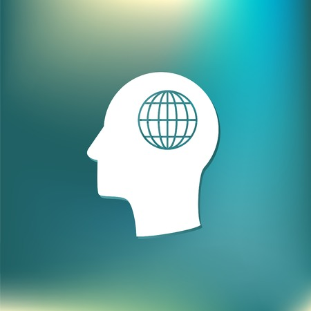 silhoutte: Vector Icon head think silhoutte vector man and his mind about  globe symbol. news. Symbol news. Icon globe planet Illustration