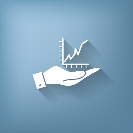 glyphs: hand holding a chart diagram figure sign. business icon