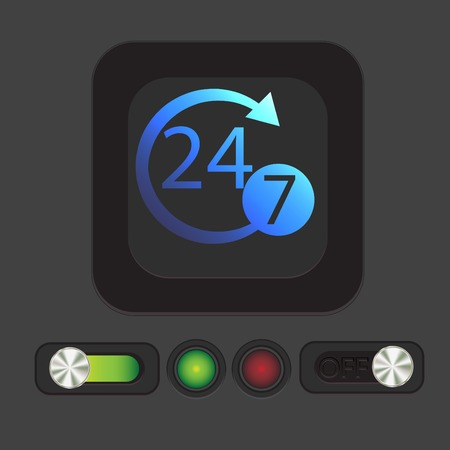 hrs: 24 7 icon. open 24 hours a day and 7 days a week icons