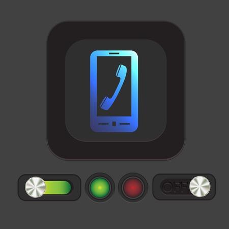 telephone handset: smartphone with the symbol telephone handset Illustration