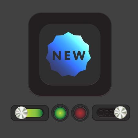 novelty: label new sign symbol of the new icon . novelty Illustration