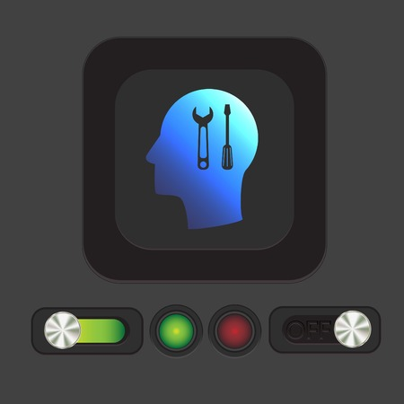 hammer head: Vector Icon head think silhoutte vector man and his mind about symbol settings sign, screwdriver and wrench