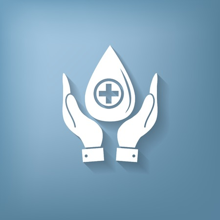 hemoglobin: hands holding a drop donate. medical icon Illustration