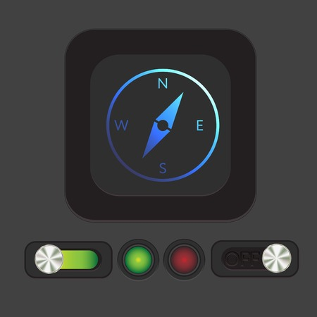 longitude: compass sign. colored button, icon orienteering, traveling or camping in the woods
