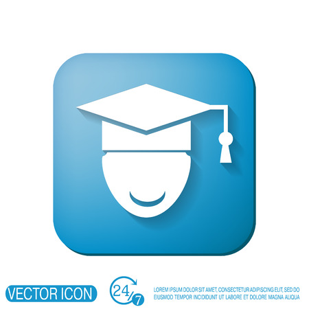 diplôme chapeau signe avatar. la tête de l'apprenant de l'étudiant. Signe de l'éducation, symbole icône collège ou un institut. graduation