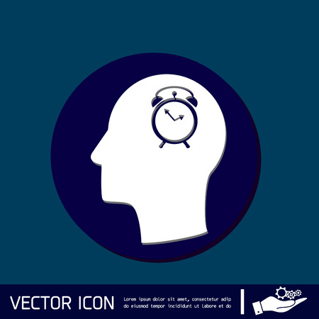 silhoutte: Vector Icon head think silhoutte vector man and his mind about alarm clock sign. Symbol morning. Alarm icon . The clock shows the time