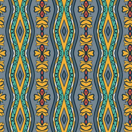 Ornement Seamless abstract. l'effet de kaléidoscope. Motif damassé ethnique. Modèle de style Vintage. Vector illustration Illustration