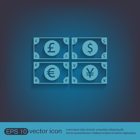 sterling: money bill sign. symbol icon dollar, pound sterling, Japanese yen , euro