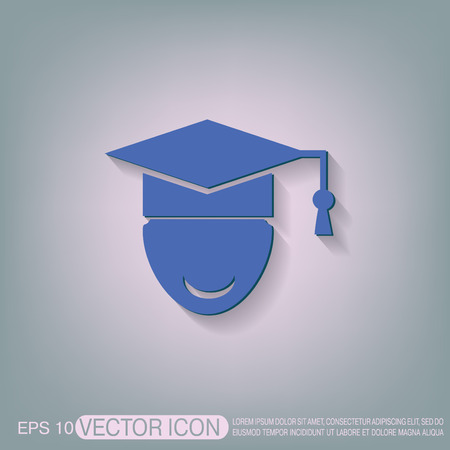learner: graduate hat avatar sign. the head of the student learner. Education sign, symbol icon college or institute. graduation