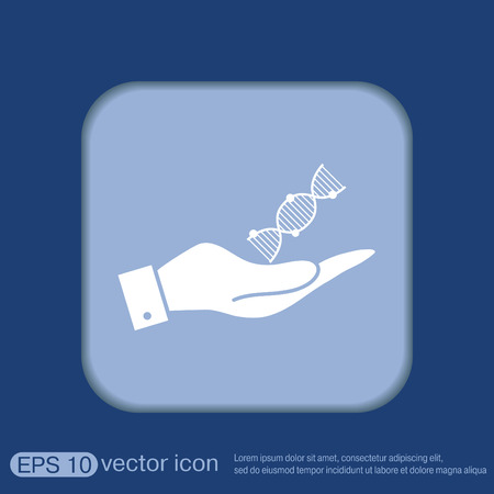 science symbols metaphors: hand holding a DNA helix. Medical Research character. Symbol of medicine. Icon Biology and Genetics Illustration