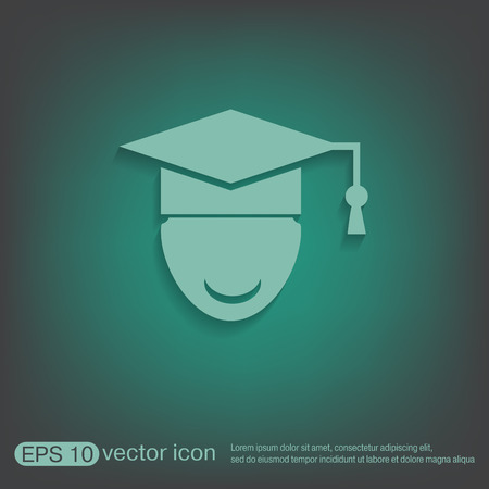 institute: graduate hat avatar sign. the head of the student learner. Education sign, symbol icon college or institute. graduation
