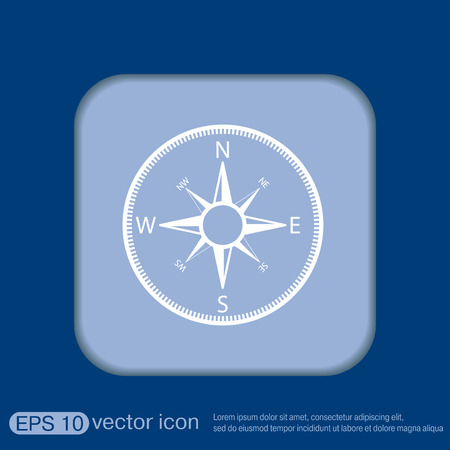 compass sign. colored button, icon orienteering, traveling or camping in the woods