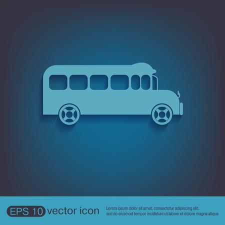 semester: School bus. Symbol study. Icon transport