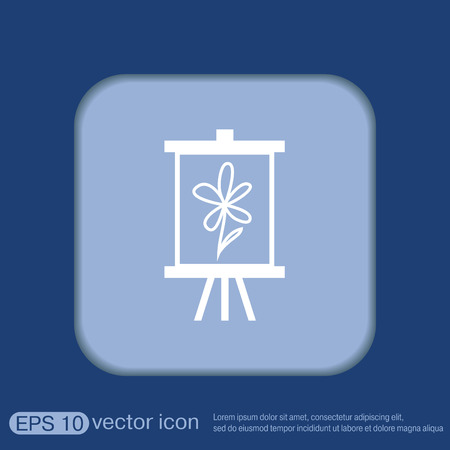 easel: Easel with picture. Icon painting. school symbol