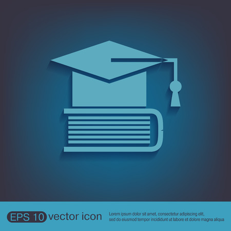 knowledge: Graduate hat on the book. icon teachings. symbol of knowledge, college or high school