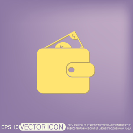 notecase: purse sign. symbol icon purse and dollar. money in your wallet Illustration
