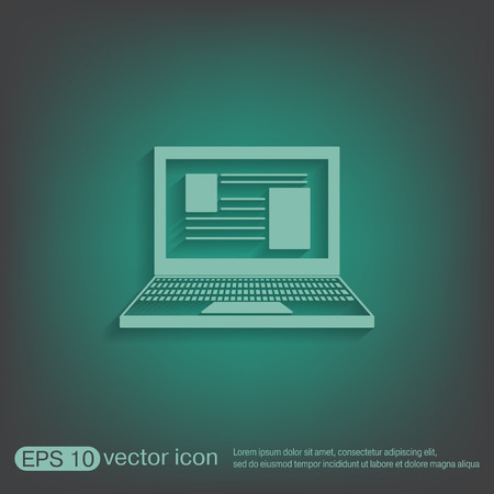 netbook: notebook laptop icon. web sign