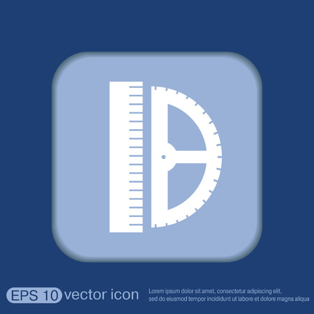 protractor: ruler and protractor. characters geometry. Education sign. symbol icon drawing and geometry Illustration
