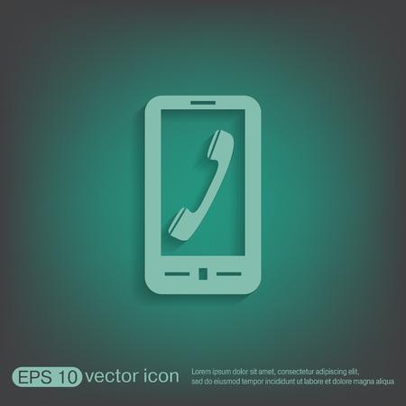 handset: smartphone with the symbol telephone handset Illustration