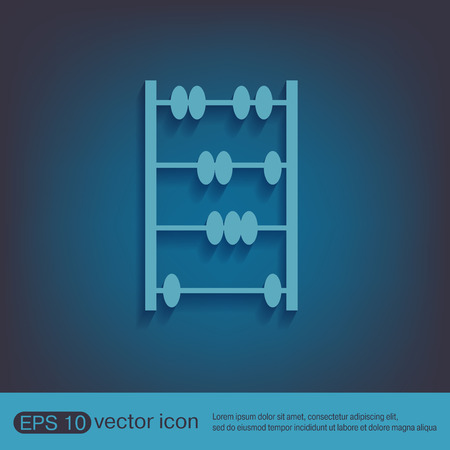 subtraction: old retro abacus icon. math sign