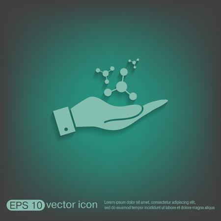 main tenant l'atome, molécule. le symbole de la physique et de la chimie. symbole icône de la physique ou la chimie. l'étude de la science