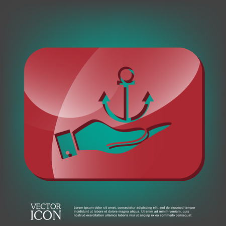 seafaring: hand holding a Nautical Anchor vector. anchor seafaring character. icon marine instrument