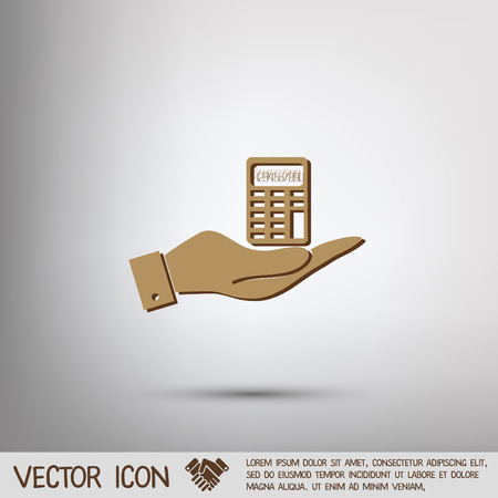 webpage: hand holding a calculator. office sign Illustration