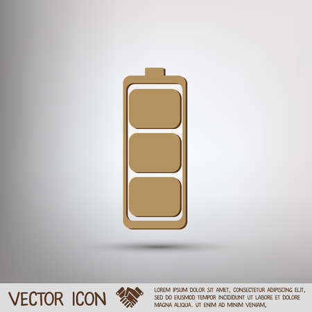 charged: charged battery. symbol a charged battery. icon energy Illustration