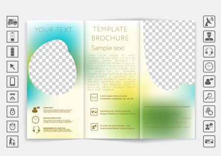 business style: Tri-Fold Brochure mock up vector design. Smooth unfocused bokeh background. Corporate Business Style