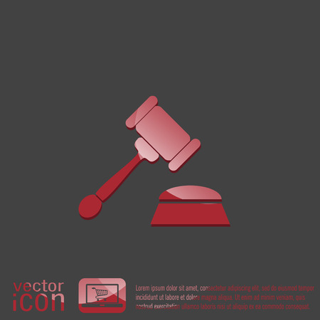 punish: gavel. icon law. symbol of justice and judgment