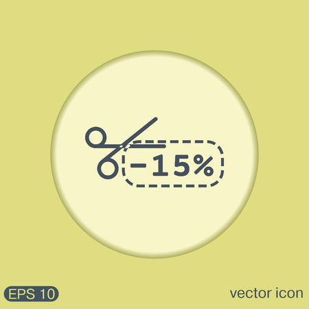 sign symbol: discount coupon with scissors sign. symbol icon discounts on merchandise