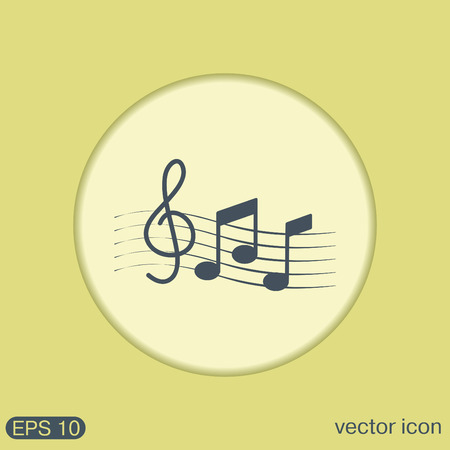crotchets: Musical notes and treble clef. Symbol muzykiki. Icon art and musicality