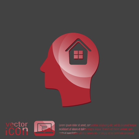 convoluted: Vector Icon head think silhoutte vector man and his mind about  House icon. Home sign Illustration
