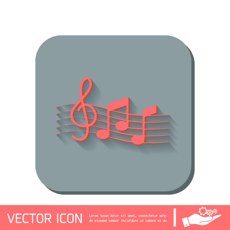musicality: Musical notes and treble clef. Symbol muzykiki. Icon art and musicality