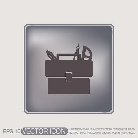 Школа: Школа портфель сумка с канцелярские принадлежности. Символ офиса или школы.