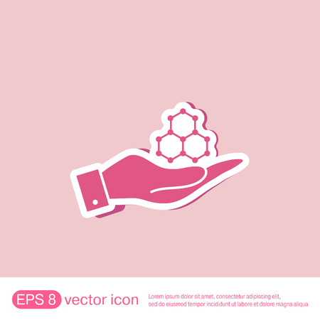 mococa: hand holding a Chemical compound. Symbol chemistry. Icon science