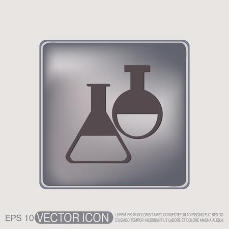 qu�mica: frasco s�mbolo bombilla qu�mica. Icono del s�mbolo de la medicina o la qu�mica. el estudio de la ciencia Vectores