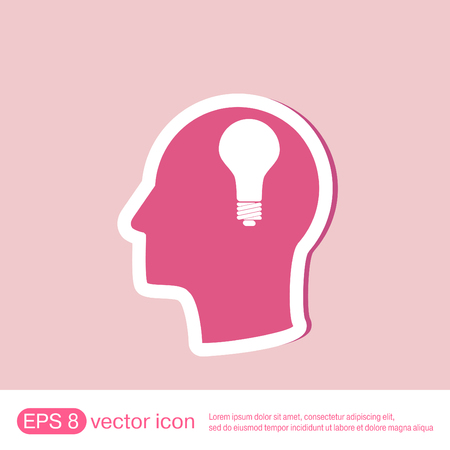 silhoutte: Idea head, Vector Icon head think silhoutte vector man and his mind about  lightbulb sign. character ideas. incandescent lamp . icon of electric light