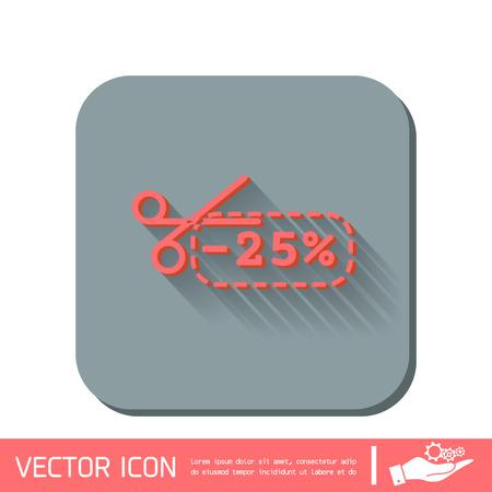 buono sconto: coupon di sconto con le forbici segno. sconti simbolo icona sulla merce Vettoriali