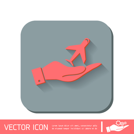 air travel: hand holding a airplane symbol . icon of air travel