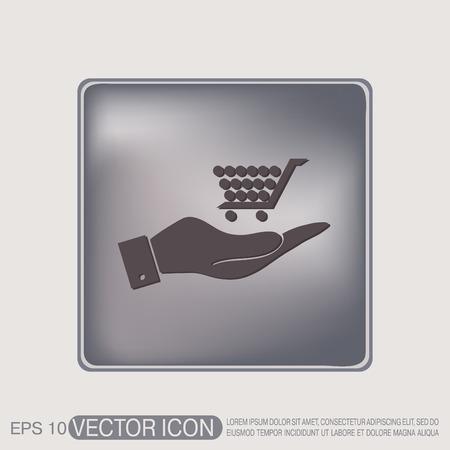 hand cart: hand holding a shopping cart online store, Internet shop. basket shopping