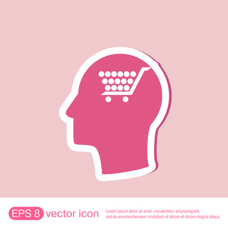silhoutte: Vector Icon head think silhoutte vector man and his mind about cart online store, Internet shop. basket shopping
