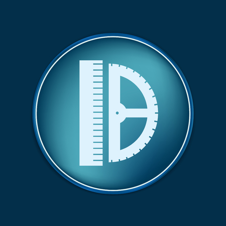 centimeters: ruler and protractor. characters geometry. Education sign. symbol icon drawing and geometry Illustration