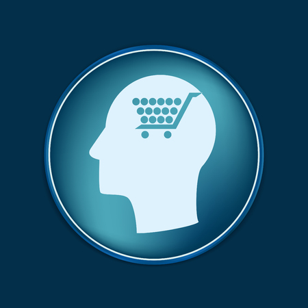 think about: Vector Icon head think silhoutte vector man and his mind about cart online store, Internet shop. basket shopping