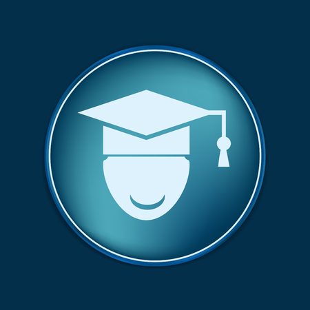 college student: graduate hat avatar sign. the head of the student learner. Education sign, symbol icon college or institute. graduation