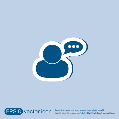 speak icon: character avatar dialogue sign. man speak icon