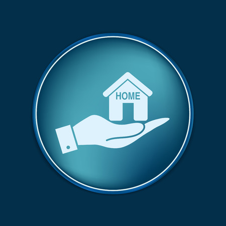 convoluted: hand holding a House icon. Home sign